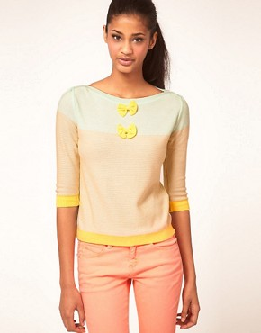 Image 1 ofVero Moda Bow and Stripe Summer Knit