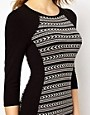 Image 3 of Karen Millen Knitted Dress with Tribal Stripe and 3/4 Sleeves