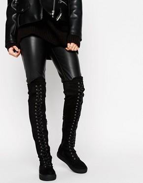Сапоги выше колен со шнуровкой и плоской подошвой Truffle Collection