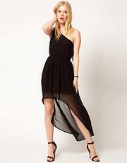 Mango One Shoulder Dress With Hi Lo Hem