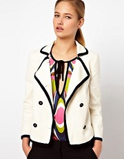 M Missoni Cropped Double Breasted Jacket with Contrast Trim