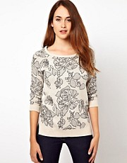 Warehouse Floral Intarsia Jumper