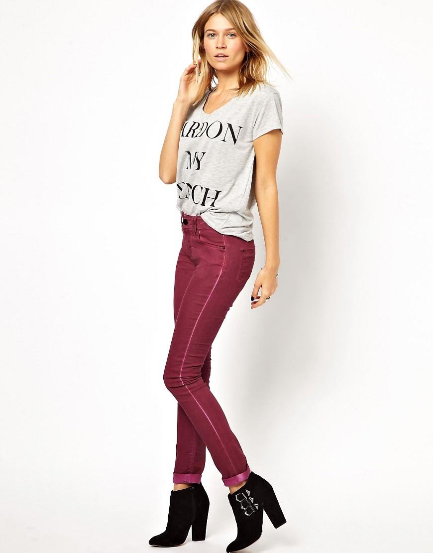 Image 4 ofASOS  Coated Skinny Jeans in Damson
