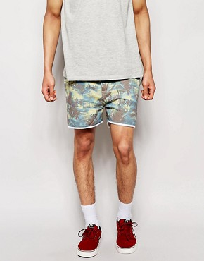Solid Jersey Shorts with All Over Beach Print