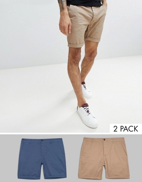 ASOS 2 Pack Slim Chino Shorts In Stone & Blue SAVE