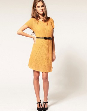 Image 4 ofASOS Knitted Dress with Stitch Detail
