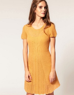 Image 1 ofASOS Knitted Dress with Stitch Detail
