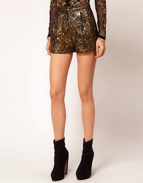 Image 4 ofASOS Gold Jacquard Short