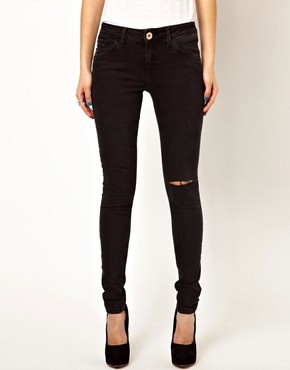 Image 1 ofRiver Island Amelie Super Skinny In Washed Black