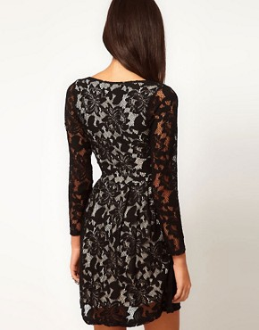 Image 2 ofASOS Lace Wrap Dress with Long Sleeves