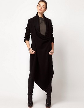 Image 1 ofImprovd Wool Coat With Draped Collar