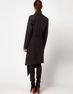 Image 2 ofImprovd Wool Coat With Draped Collar