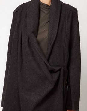 Image 3 ofImprovd Wool Coat With Draped Collar