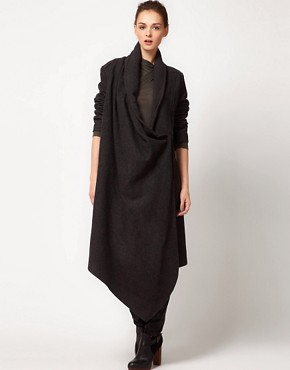 Image 4 ofImprovd Wool Coat With Draped Collar