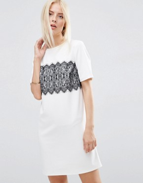 ASOS Shift Dress with Lace Panel Detail
