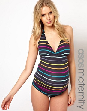 Image 1 ofASOS Maternity Exclusive Swimwear Pant In Multi Stripe