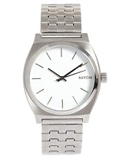 Nixon Silver Brushed Steel Watch