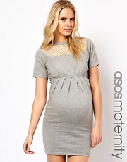 ASOS Maternity Exclusive Knitted Dress With Net Top