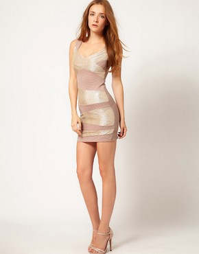 Image 4 ofA Wear Glitter Stripe Bodycon Dress