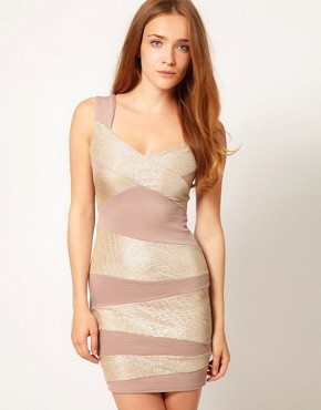 Image 1 ofA Wear Glitter Stripe Bodycon Dress