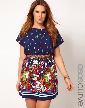 Image 1 ofASOS CURVE Exclusive Skater Dress With Floral Border