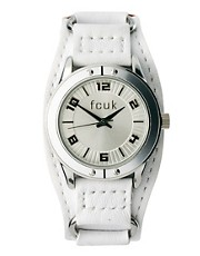 Reloj con correa ancha de cuero blanco de French Connection