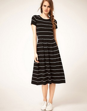 Image 1 of ASOS Midi Striped Knit Dress