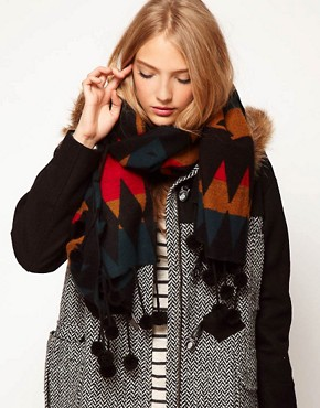 Image 1 ofASOS Aztec Woven Pom Pom Scarf