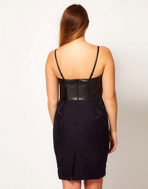 Image 2 ofASOS CURVE Exclusive Jacquard Pencil Dress With PU Bodice