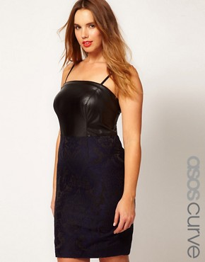 Image 1 ofASOS CURVE Exclusive Jacquard Pencil Dress With PU Bodice