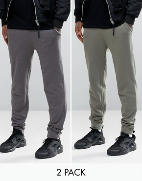 ASOS 2 Pack Skinny Jersey Joggers In Charcoal Grey And Khaki Save 20%