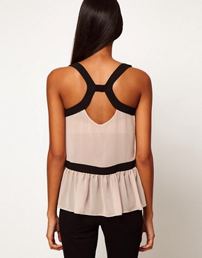 Image 2 ofASOS Top With Cutout Back And Contrast Buttons