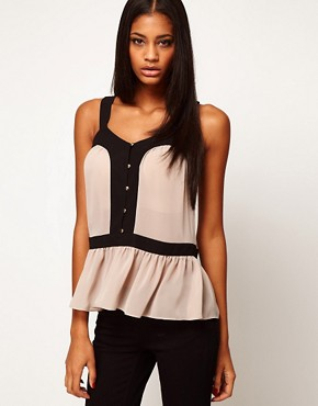 Image 1 ofASOS Top With Cutout Back And Contrast Buttons