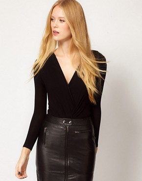 Image 1 ofGanni Jersey Bodysuit with Wrap Detail