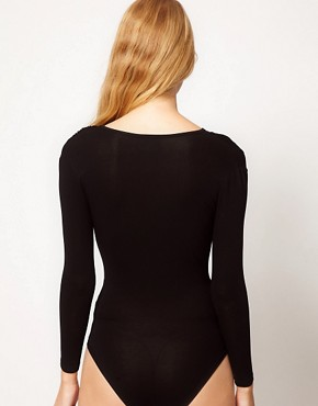 Image 2 ofGanni Jersey Bodysuit with Wrap Detail