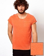 ASOS T-Shirt With Roll Sleeve And Burn Wash.
