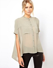ASOS Blouse With Sheer Panels And Double Pocket