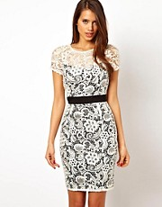 Lipsy VIP Lace Dress with Contrast Waistband