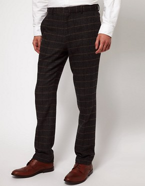 ASOS Slim Fit Suit Trousers Herringbone Check