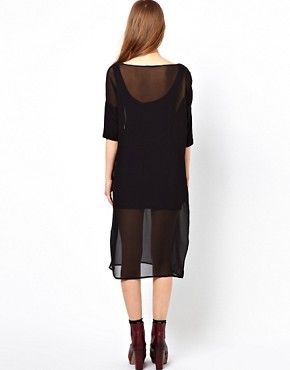 Image 2 ofDagmar Felicia Silk Dress With Knitted Sleeves