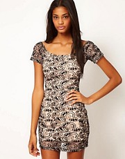 Motel Lace Debbie Off Shoulder Body-Conscious Dress