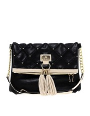River Island Black Quilted And Studded Tassel Messenger Bag