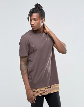 ASOS Super Longline T-Shirt With Distressing And Camo Print Hem Extender