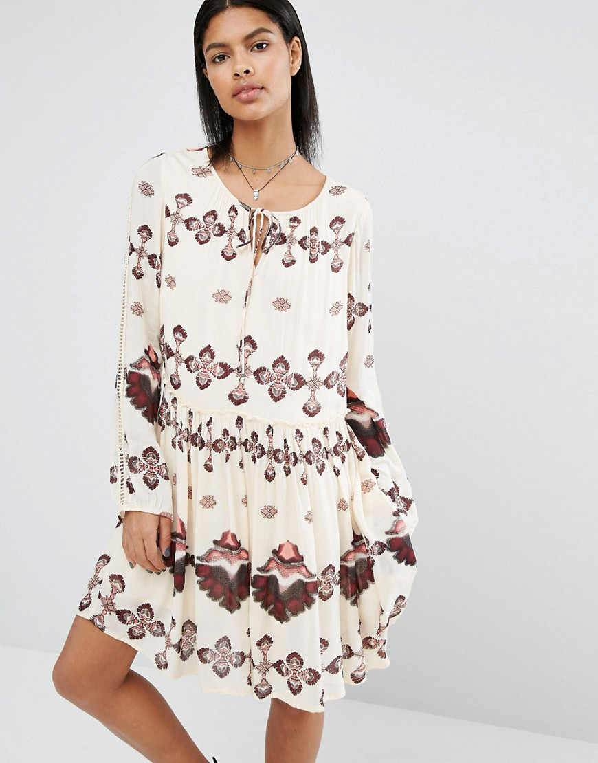 Vila Printed Smock Dress - Beige