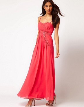 Image 1 ofLittle Mistress Embellished Strappy Maxi Dress