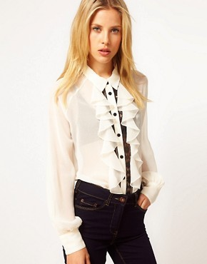 Image 1 ofASOS Blouse With Contrast Lace Inserts And Ruffles