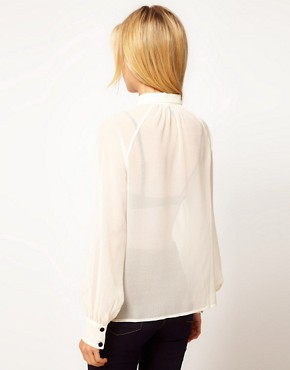 Image 2 ofASOS Blouse With Contrast Lace Inserts And Ruffles