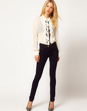 Image 4 ofASOS Blouse With Contrast Lace Inserts And Ruffles