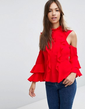 ASOS Cold Shoulder Ruffle Blouse with Tie
