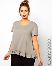 ASOS CURVE Oversize Top With Frill